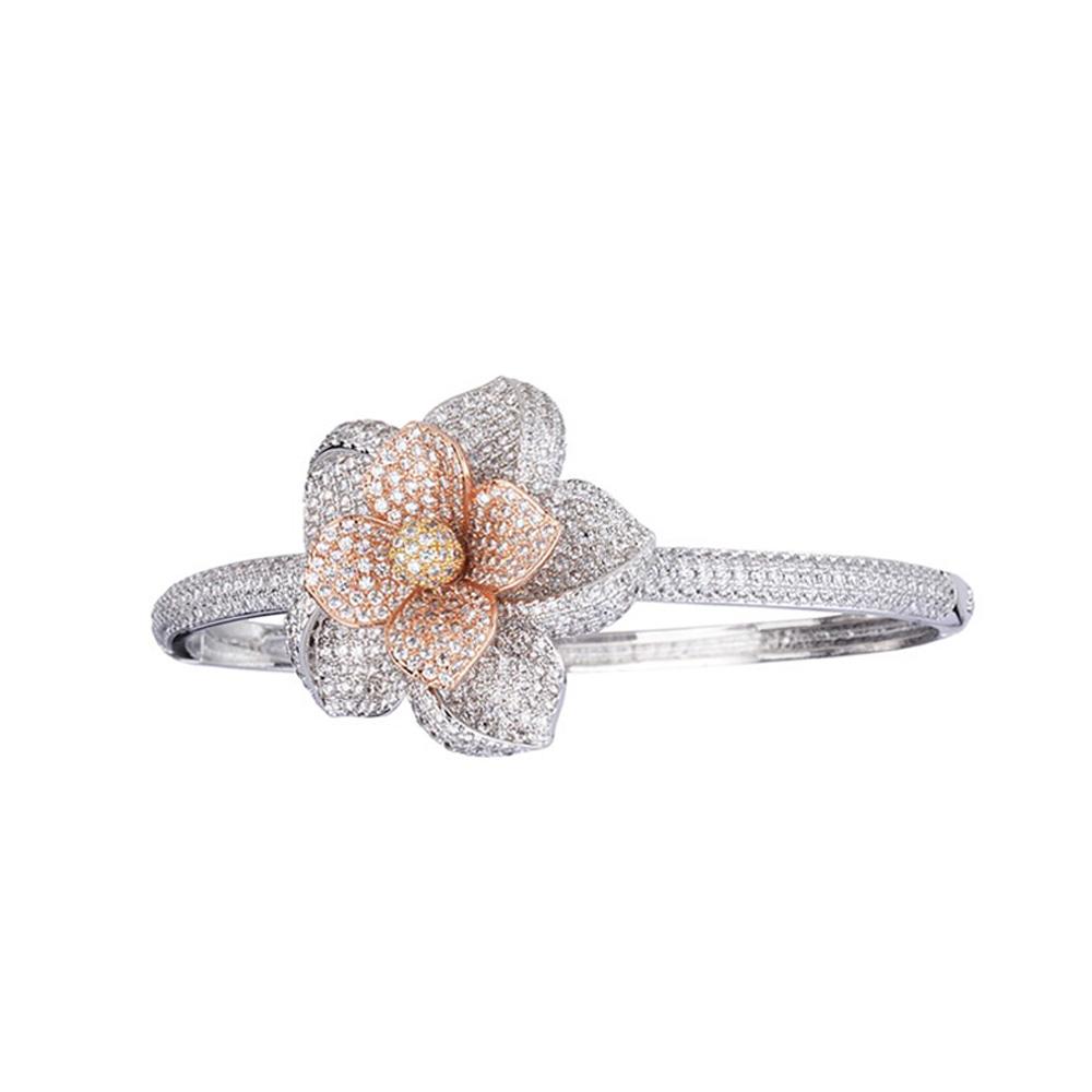 Bracelete Flor Luxo Zircônias