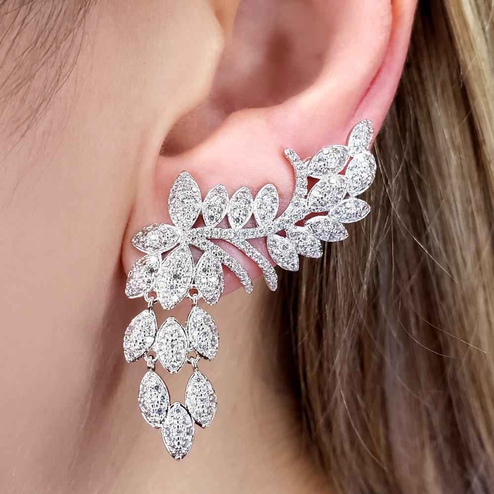 Brinco Ear Cuff Folhas Zircônias Ródio Branco