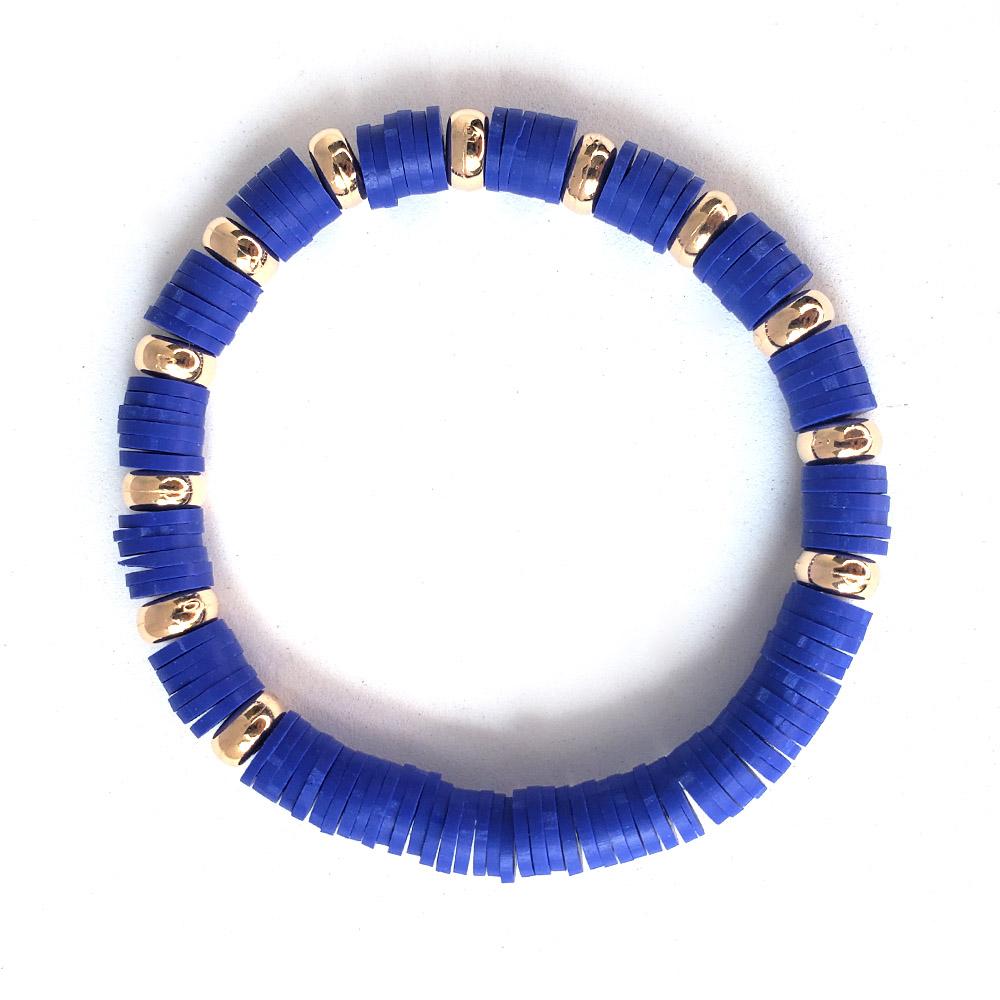 Pulseira Elástico Borrachinhas Azul Escuro Folheado em Ouro