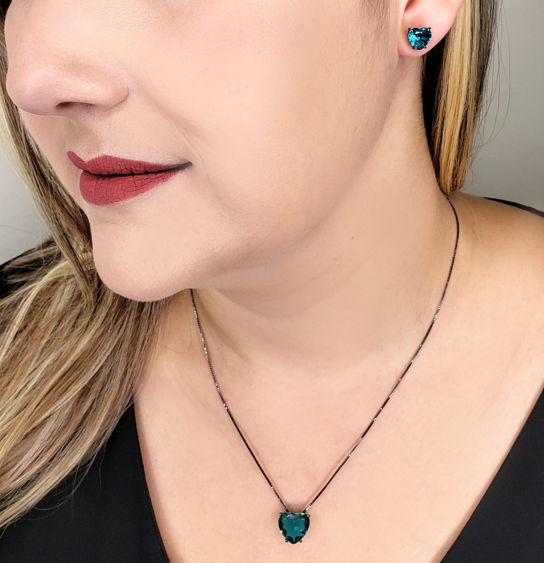 Colar e Brincos Coração Paraíba Brasil Verde Azulado Folheado em Ródio Negro