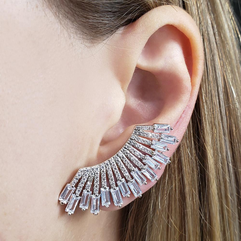 Brinco Ear Cuff Leque Zircônias Folheado em Ródio Branco