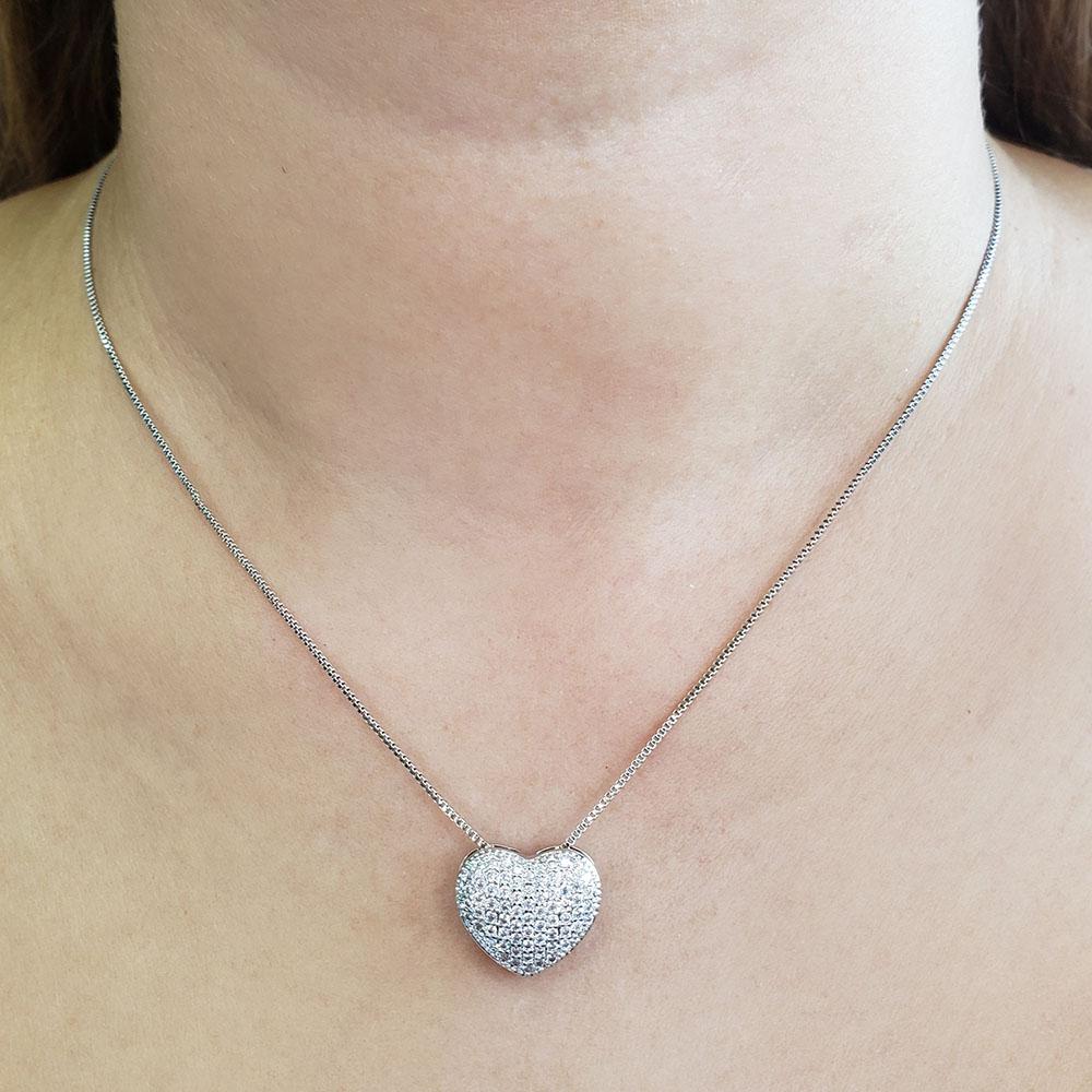 Colar e Brincos Coração Cravejado Zircônias Folheado em Ródio Branco
