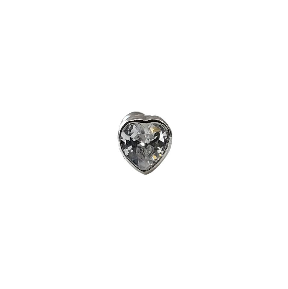 Piercing Verdadeiro Coração Zircônia Prata 925 Fecho Rosca