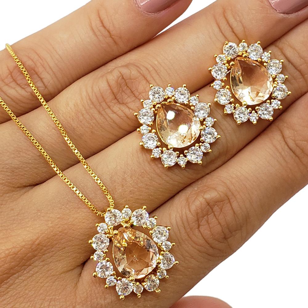 Colar e Brincos Gota Zircônias Cristal Morganita Folheado em Ouro 18k