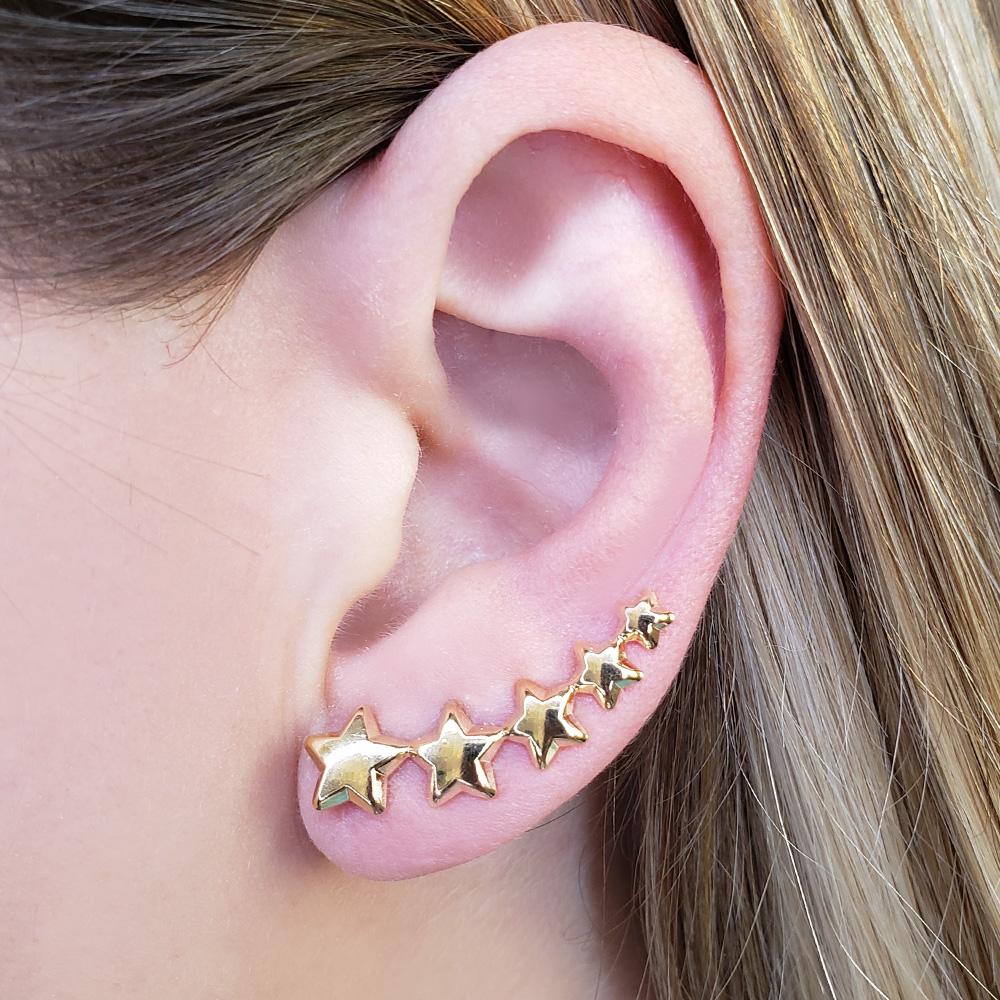 Brinco Ear Cuff Estrelas Folheado em Ouro