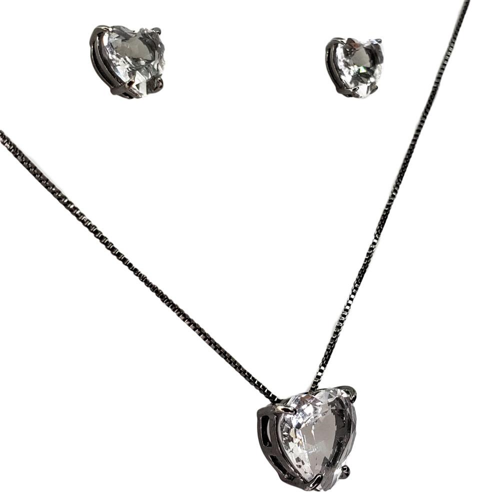 Colar e Brincos Coração Cristal Ródio Negro
