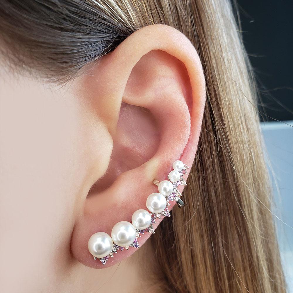 Brinco Ear Cuff Pérolas Zircônias Rainbow Folheado Ródio Branco