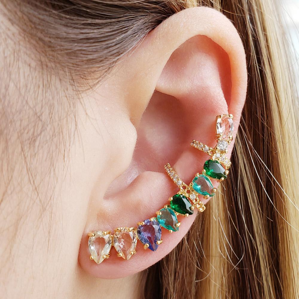 Brinco Ear Cuff Colors Folheado em Ouro 18k