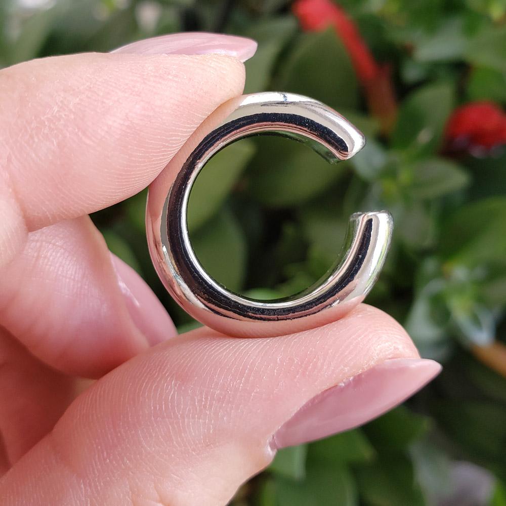 Piercing Pressão Elo Liso Grande 25 mm Folheado em Ródio Branco - Unidade