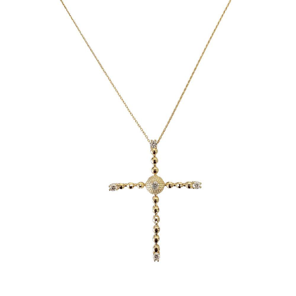 Colar Médio Crucifixo Bolinhas Zircônias Folheado Ouro