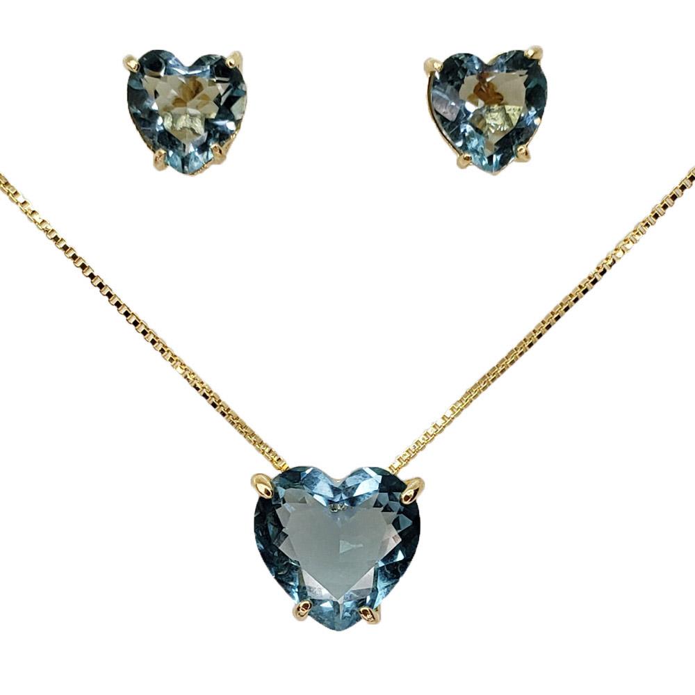 Colar e Brincos Coração Azul Aquamarine Folheado em Ouro 18k