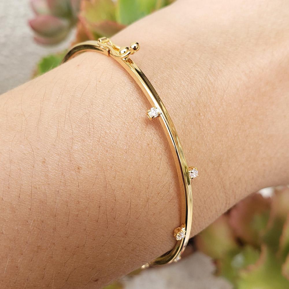 Bracelete Rígido Zircônias Amsterdam Folheado em Ouro