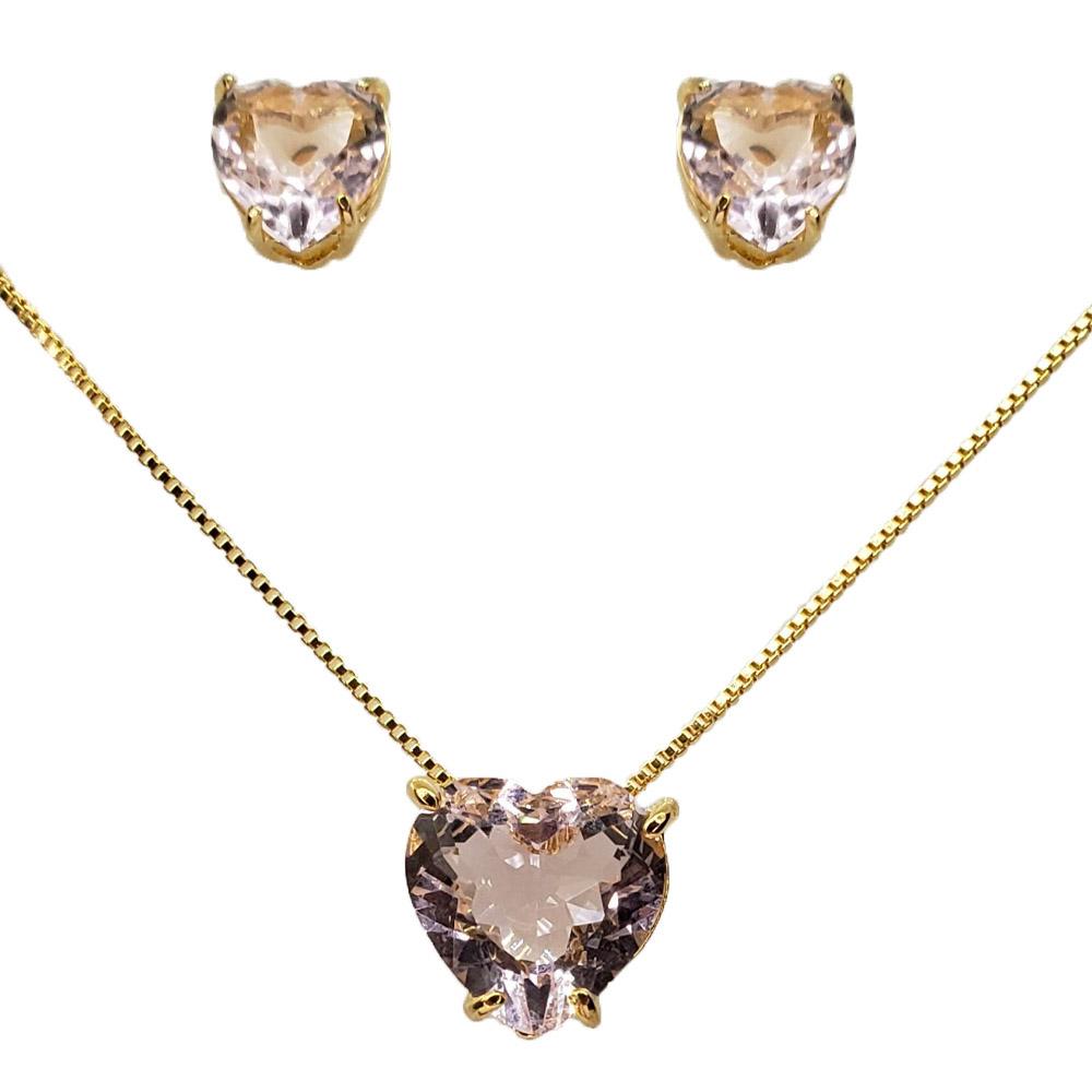 Colar e Brincos Coração Rosa Kunzita Folheado em Ouro 18k