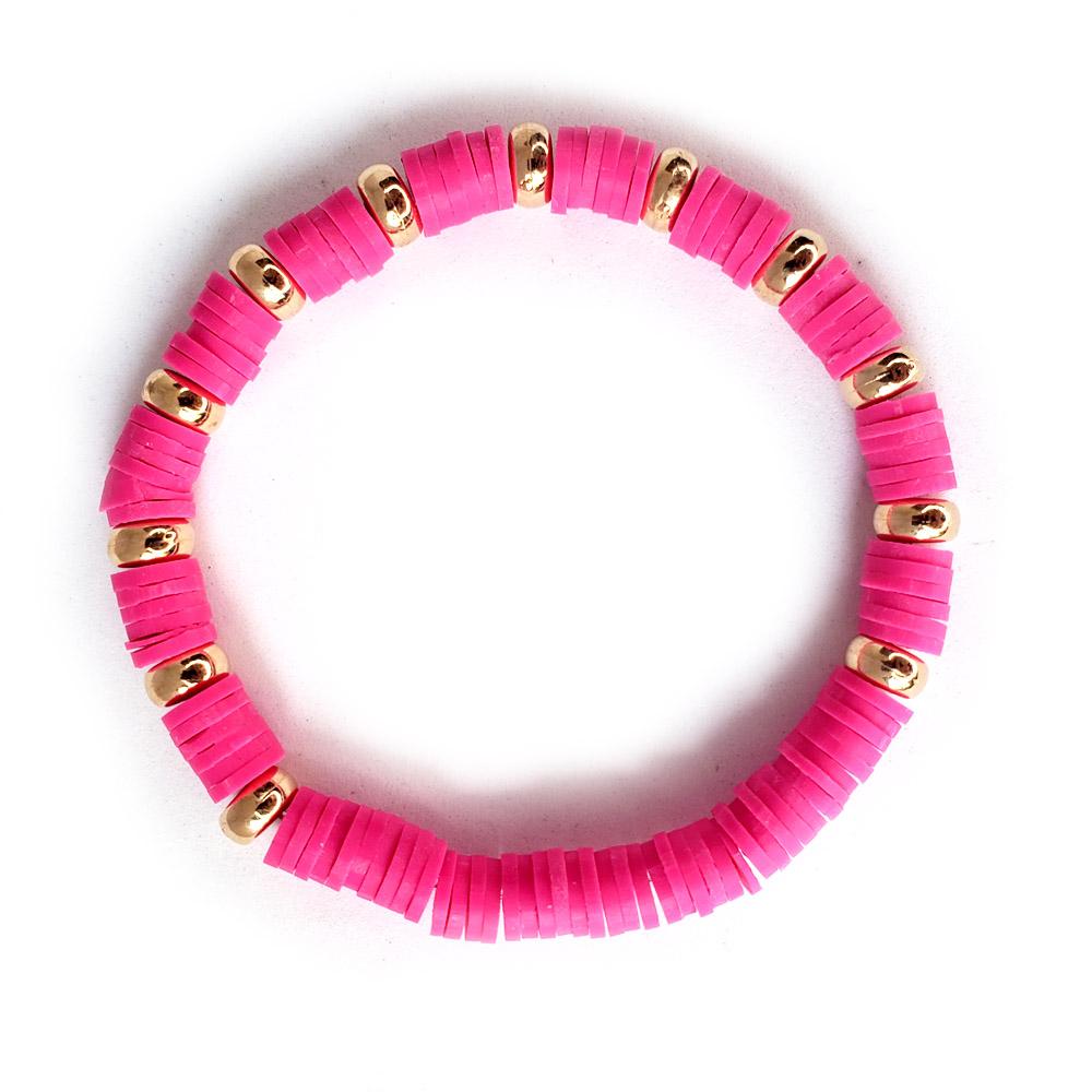 Pulseira Elástico Borrachinhas Rosa Pink Folheado em Ouro