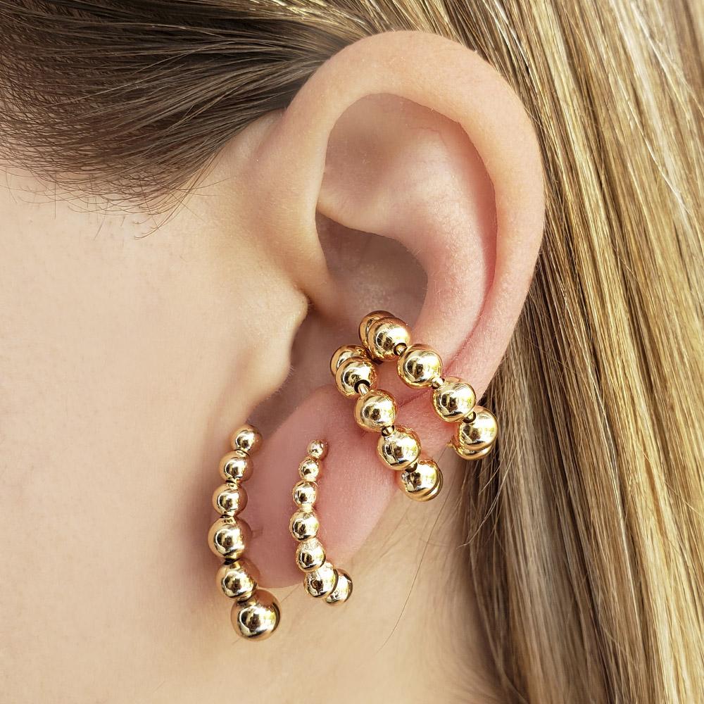 Brinco Mini Ear Hook Bolinhas Folheado em Ouro 18k