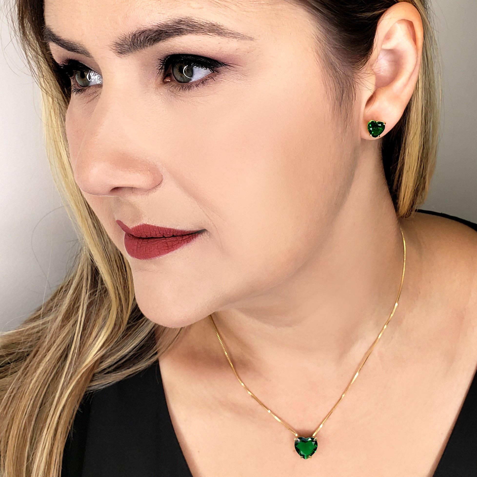 Colar e Brincos Coração Esmeralda Verde Folheado em Ouro 18k
