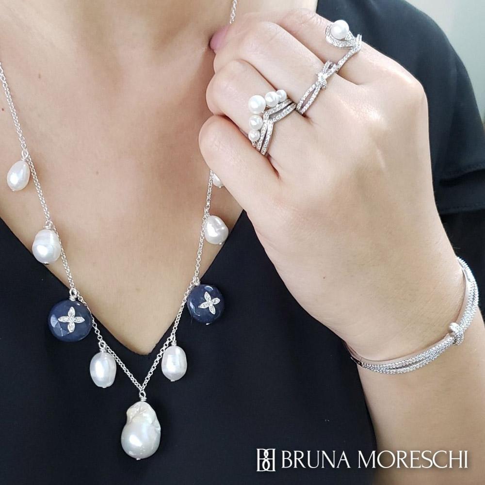 Colar Médio Sete Pérolas Barrocas Jade Azul em Prata 925 Feito à Mão