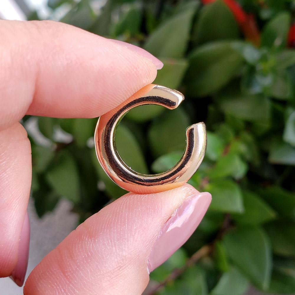 Piercing Pressão Elo Liso Médio 20 mm Folheado em Ouro - Unidade
