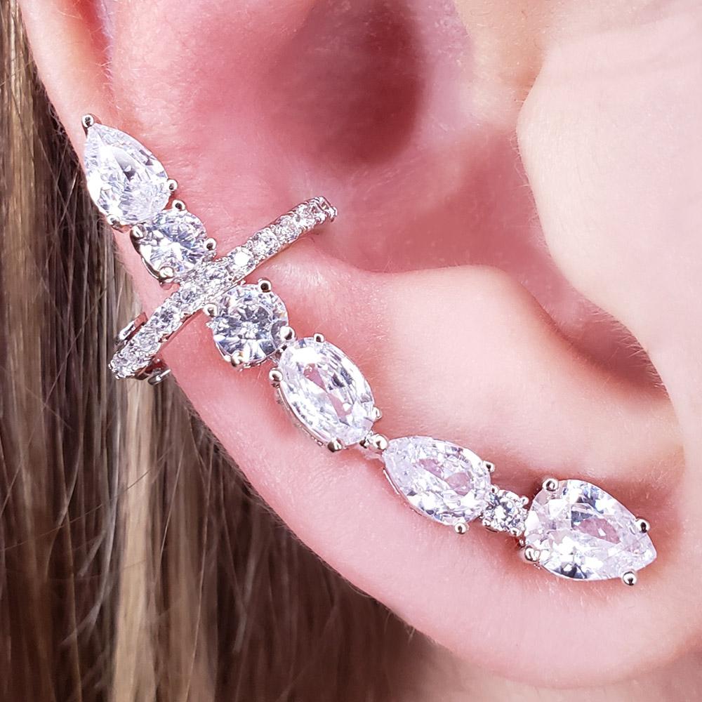 Brinco Ear Cuff Zircônias Folheado em Ródio Branco