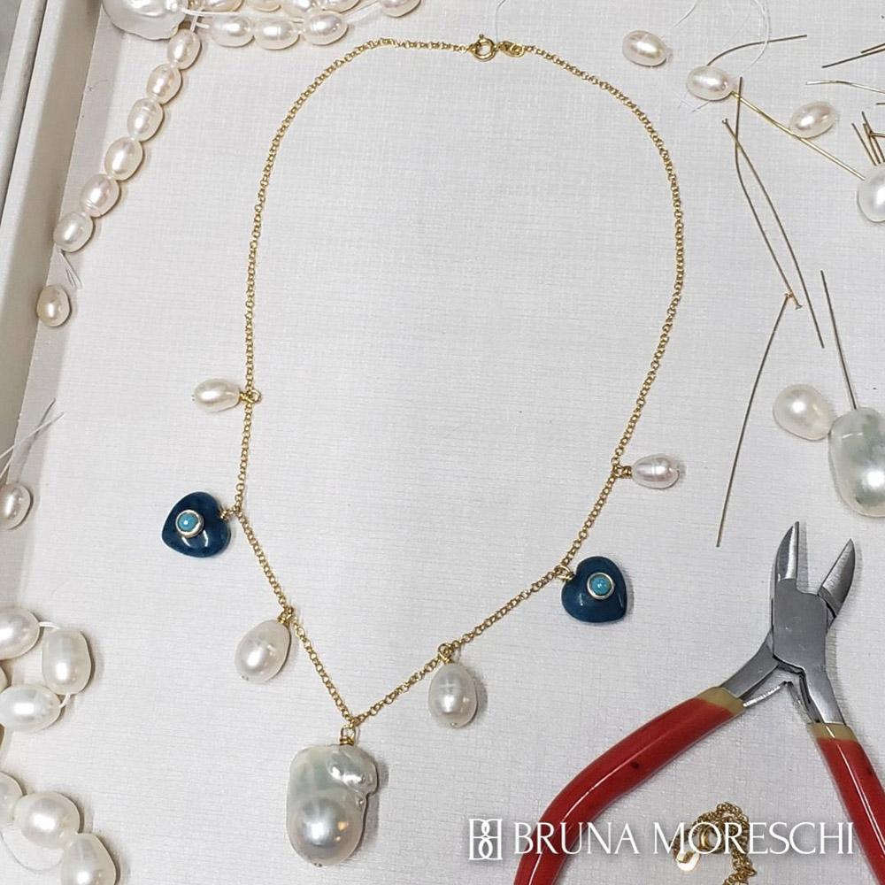 Colar Curto Pérolas Barrocas Jade Azul Prata 925 Folheada em Ouro Feito à Mão