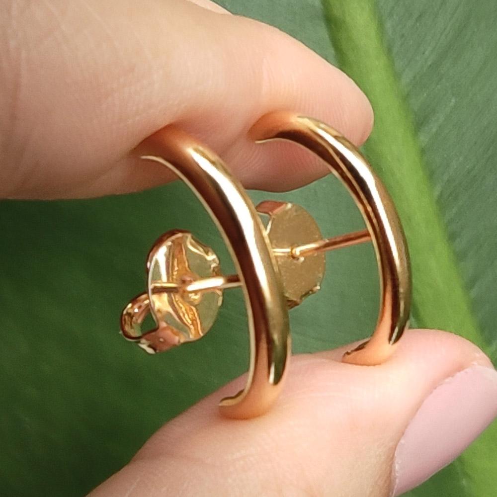 Brinco Ear Hook Liso Linha Elos Folheado em Ouro
