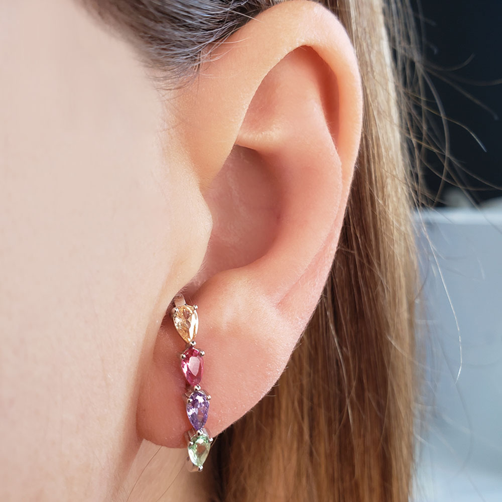 Brinco Ear Hook Gotas Rainbow Prata 925