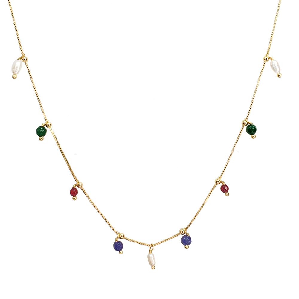 Colar Longo Bolinhas Jade Colors Folheado em Ouro