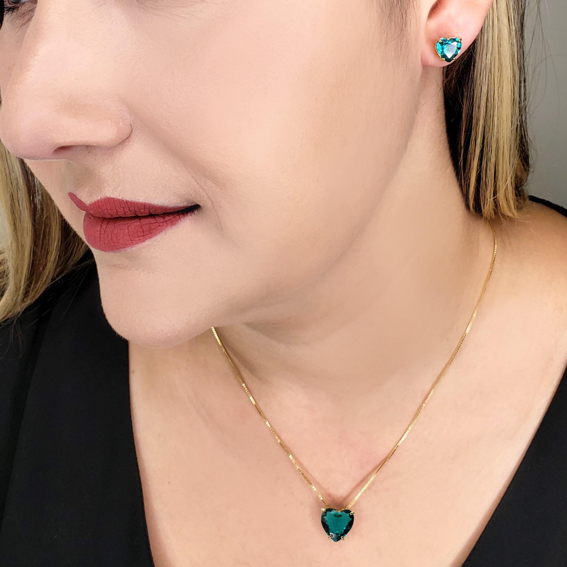 Colar e Brincos Coração Paraíba Brasil Verde Azulado Folheado em Ouro 18k