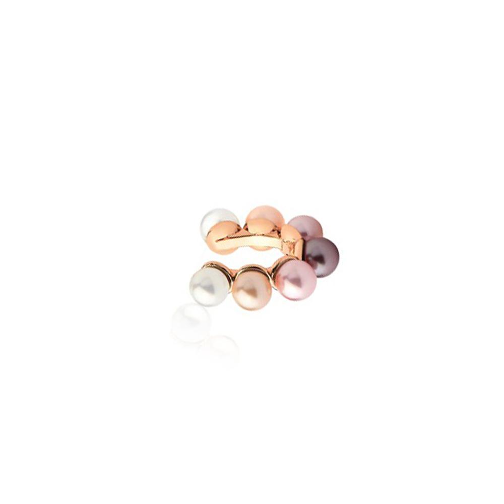 Piercing de Pressão com Pérolas Brancas e Rosés Folheado em Ouro