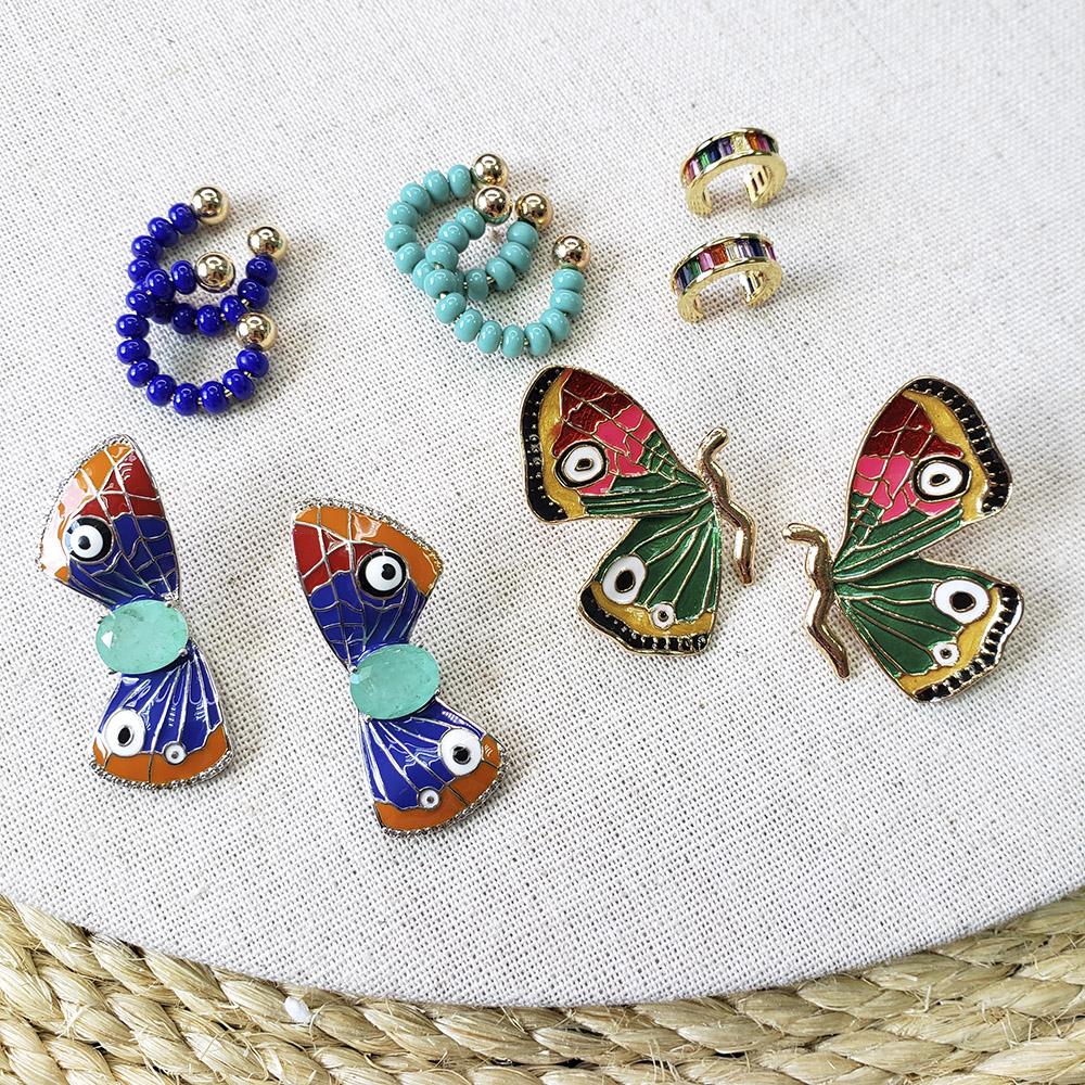 Piercing Bolinhas Miçangas Azul Marinho Inteiro Folheada em Ouro - Unidade