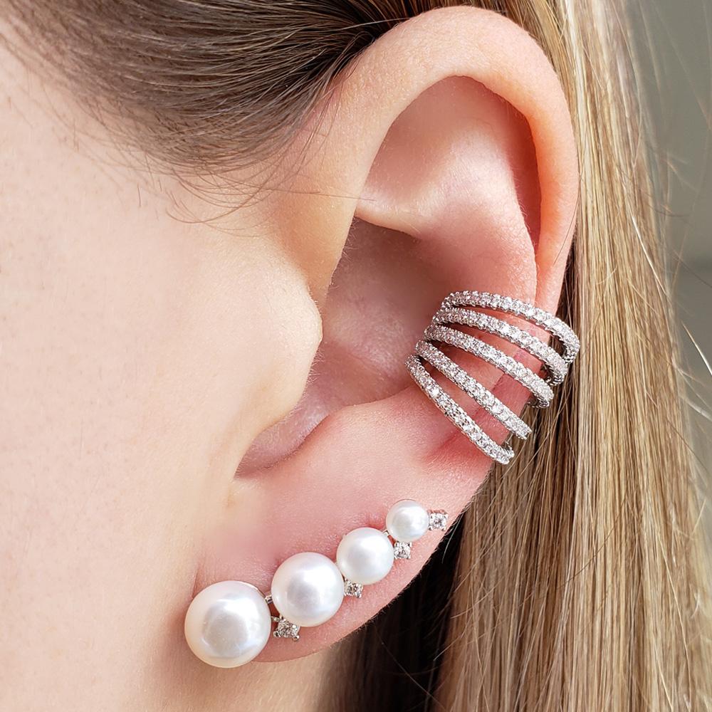 Brinco Mini Ear Cuff Pérolas Naturais Pontinhos Zircônias Ródio Branco