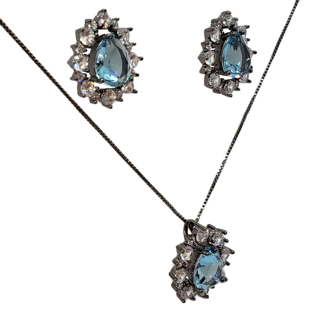 Colar e Brincos Gota Zircônias Cristal Azul Aquamarine Folheado em Ródio Negro