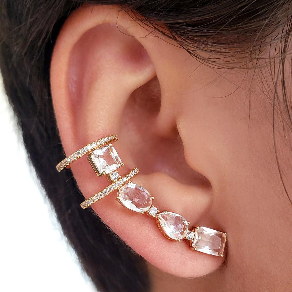 Brinco Ear Cuff Pequeno Zircônias Folheado em Ouro