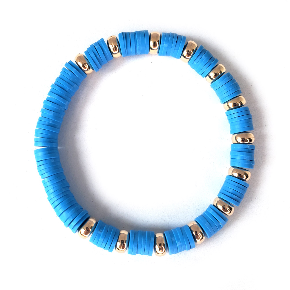 Pulseira Elástico Borrachinhas Azul Clara Folheado em Ouro