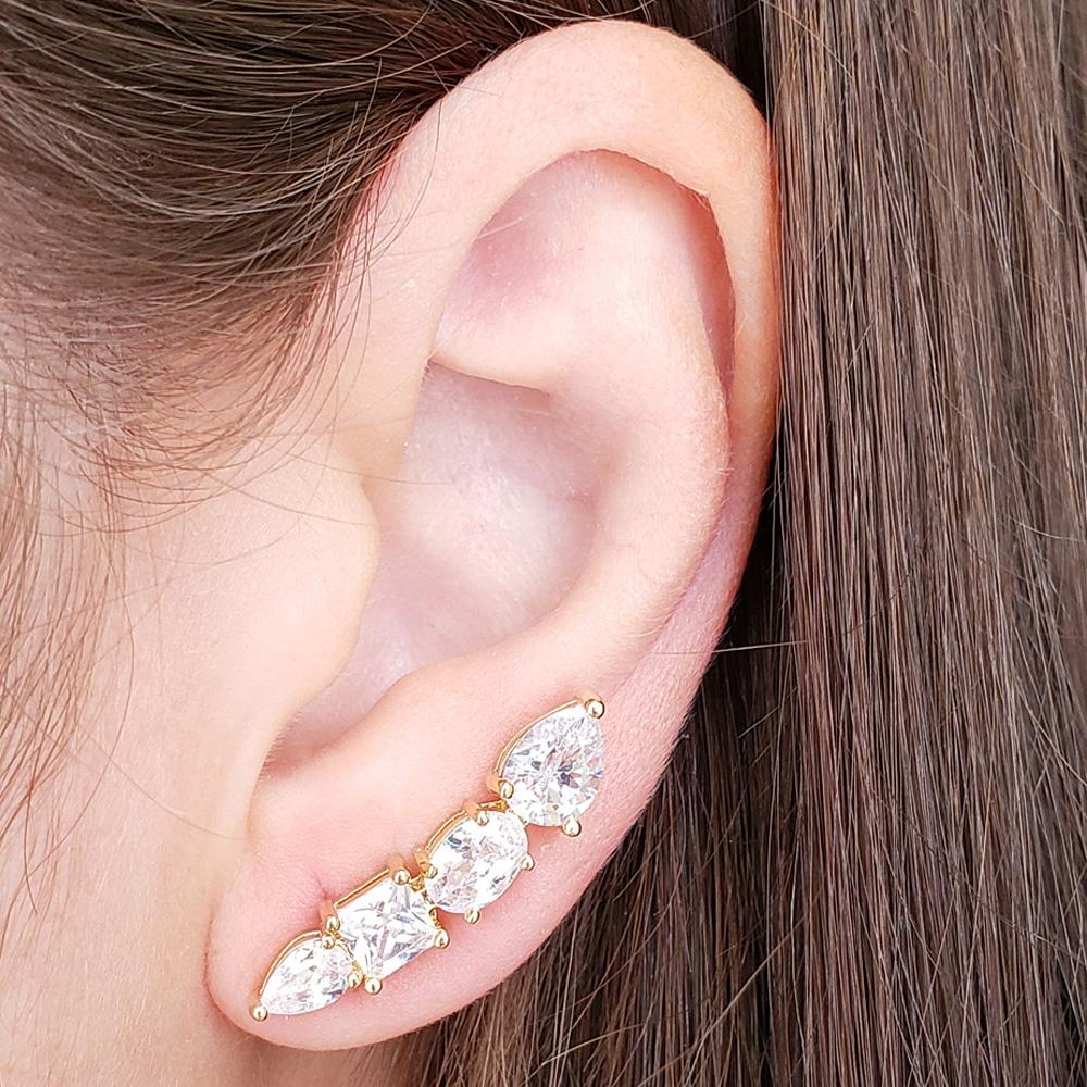 Brinco Ear Cuff Encanto Folheado em Ouro