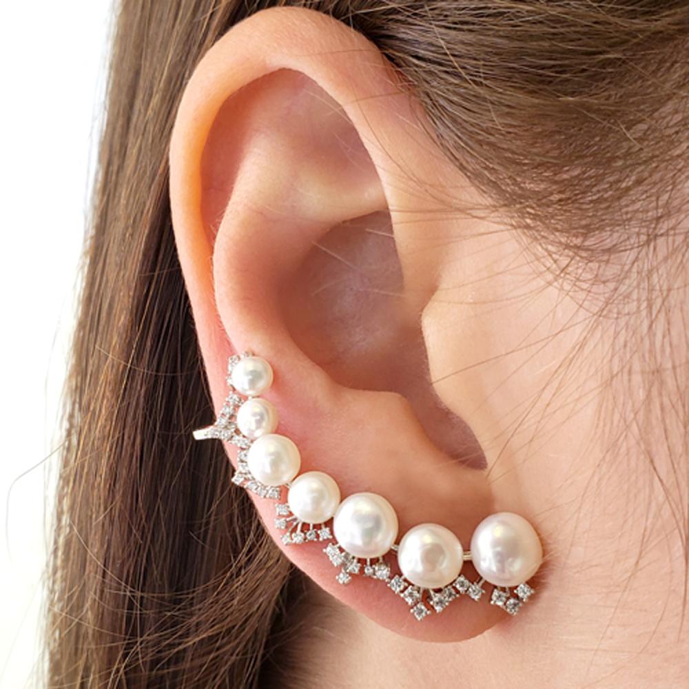 Brinco Ear Cuff Pérolas Zircônias Ródio Branco Fol.