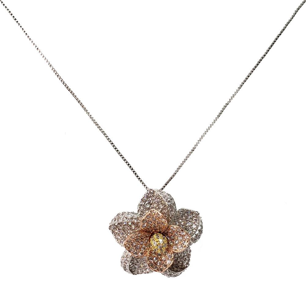 Colar Flor Luxo Zircônias