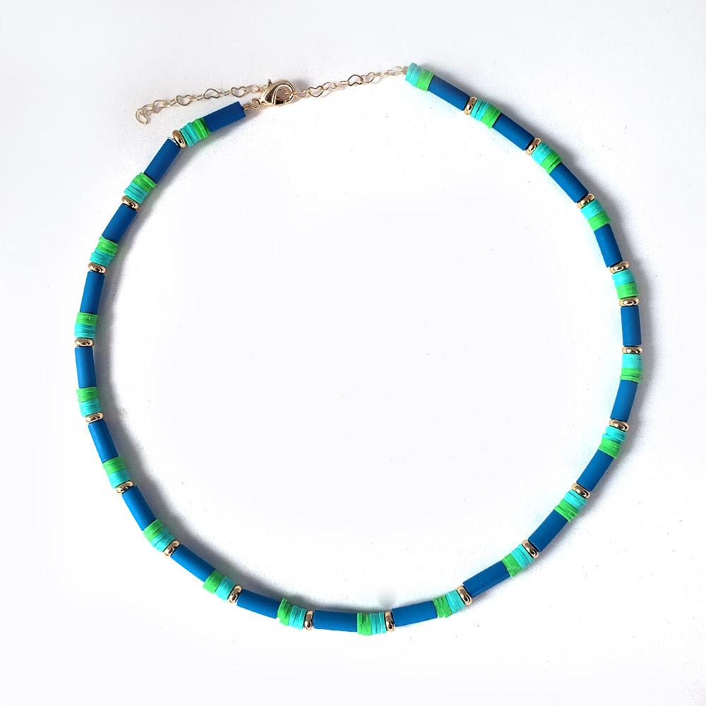 Colar Cilindro Azul Borrachinhas Verde Azul Folheado em Ouro