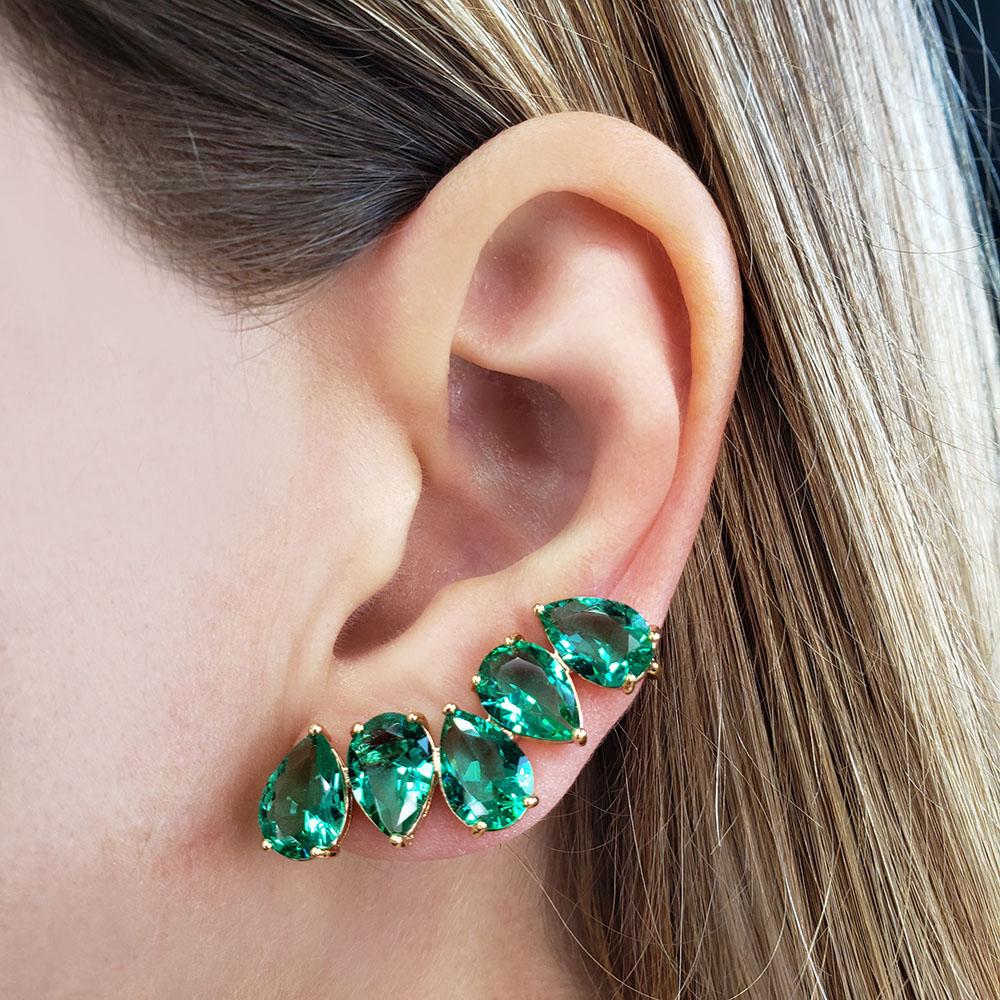 Brinco Ear Cuff Gotas Verdes Folheado em Ouro