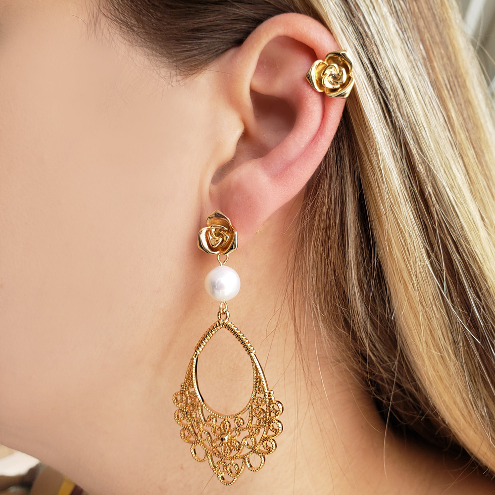 Piercing de Pressão Mini Rosa Folheado em Ouro
