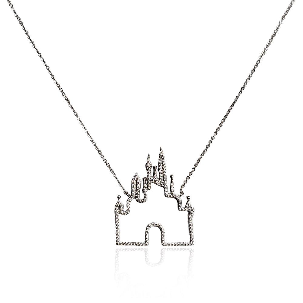 Colar Castelo Princesa Zircônias Ródio Branco