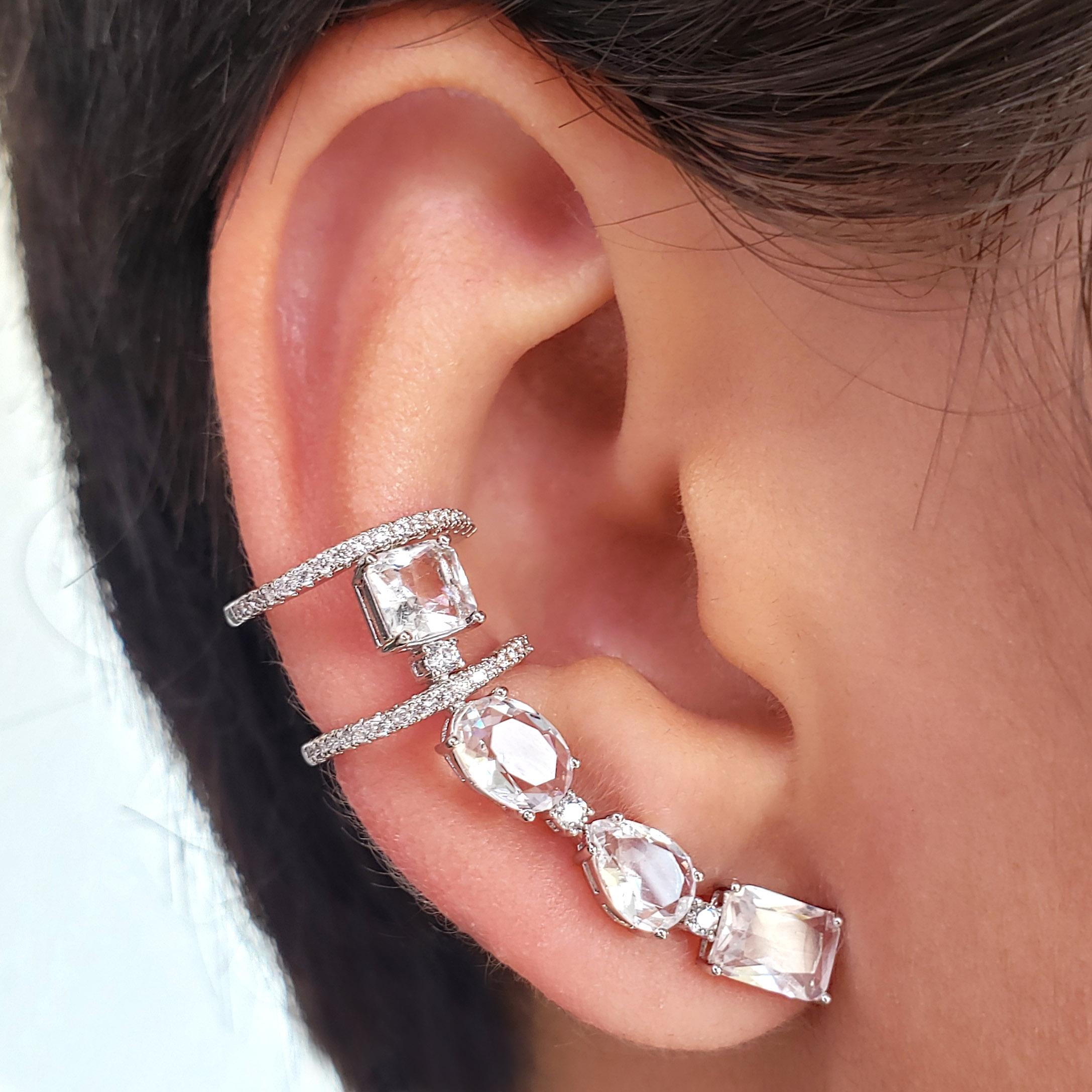 Brinco Ear Cuff Pequeno Zircônias Folheado Ródio Branco