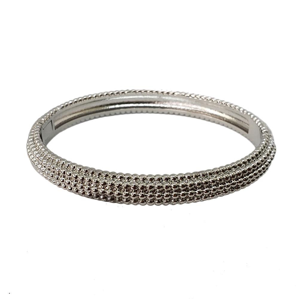 Bracelete Pontilhado Folheado em Ródio Branco