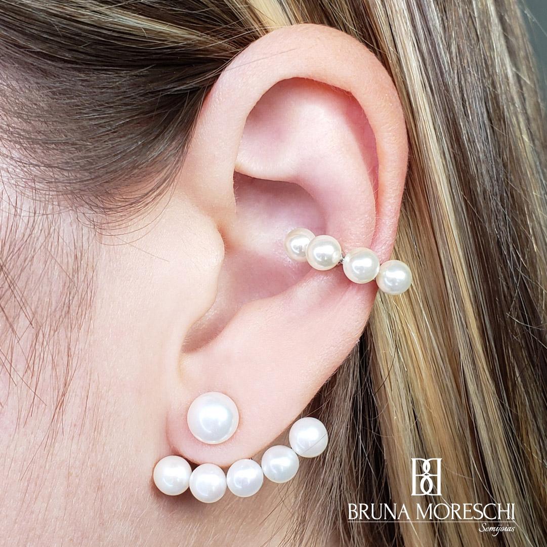 Brinco Ear Jacket Pérolas Shell Prata 925