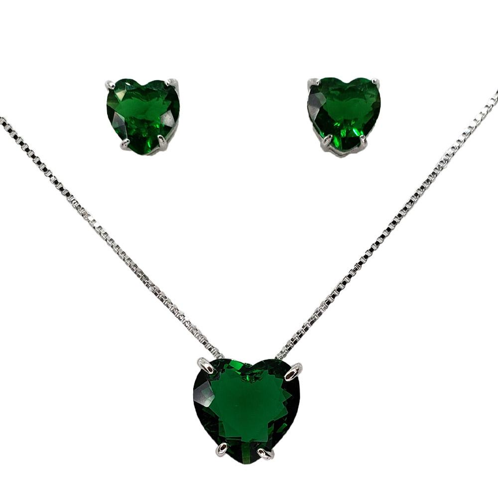 Colar e Brincos Coração Esmeralda Verde Folheado em Ródio Branco