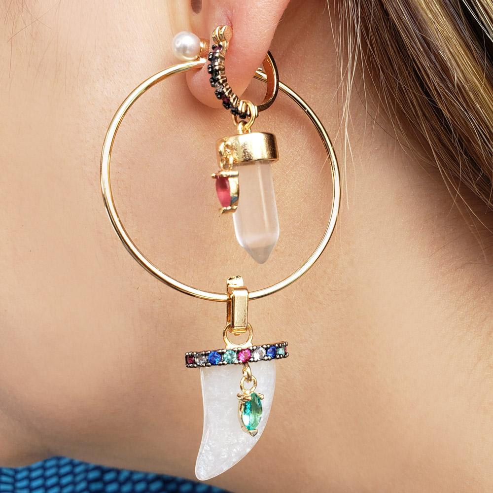 Charm Argola Colorida Cristal Transparente Navete Rosa Folheado a Ouro