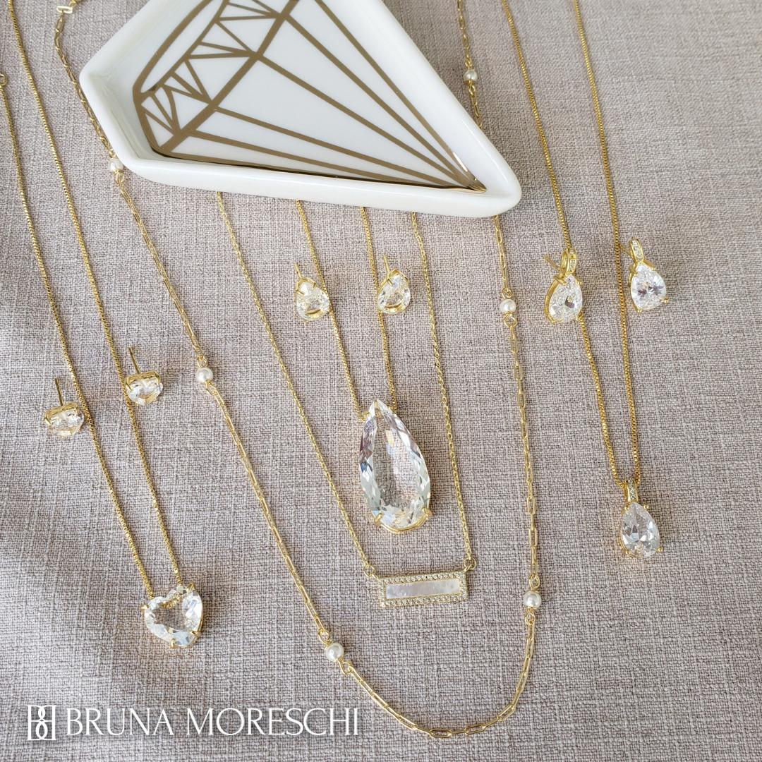 Colar e Brincos Gota Grande Cristal Folheado em Ouro 18k