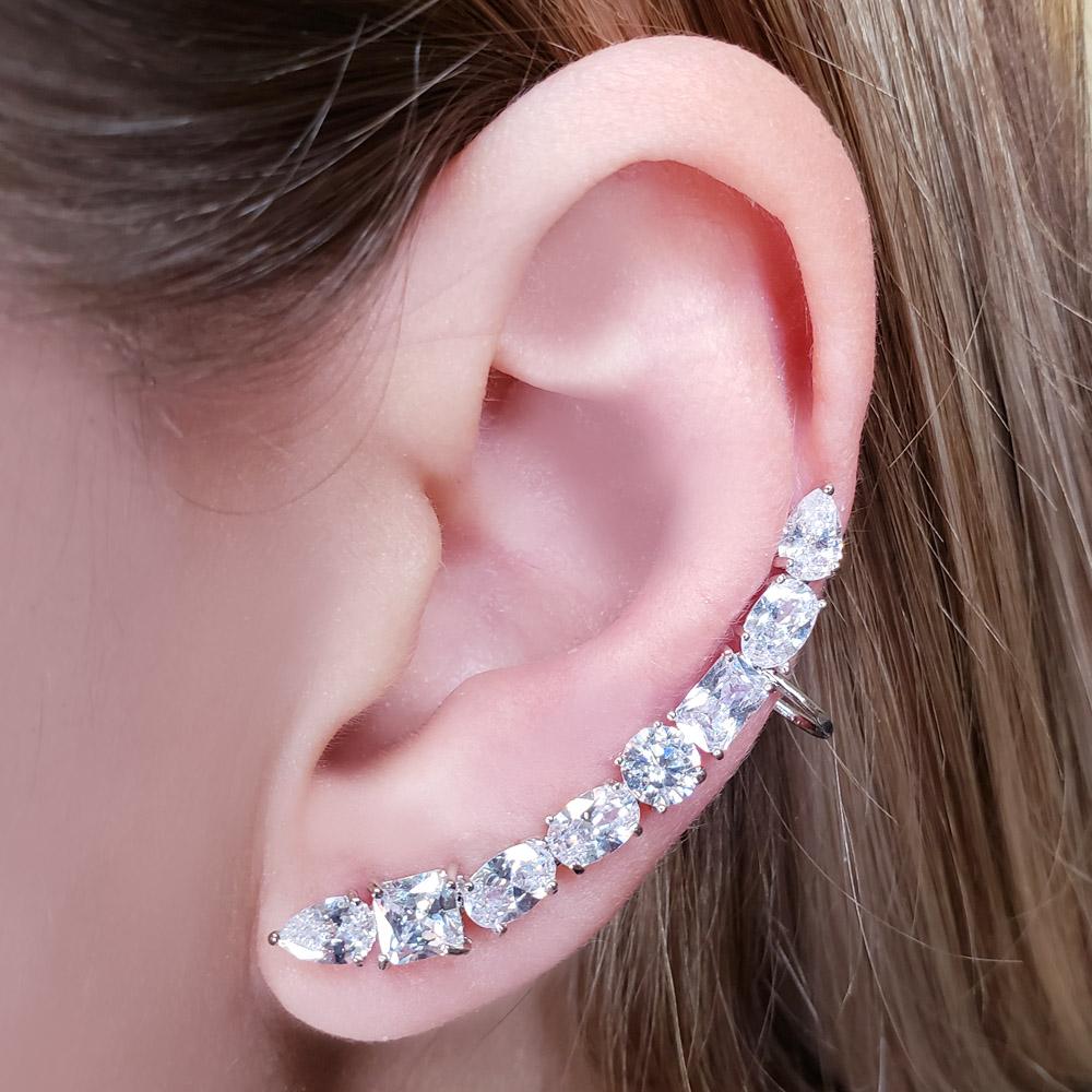 Brinco Ear Cuff Zircônias Gota Quadrado Oval Folheado em Ródio Branco