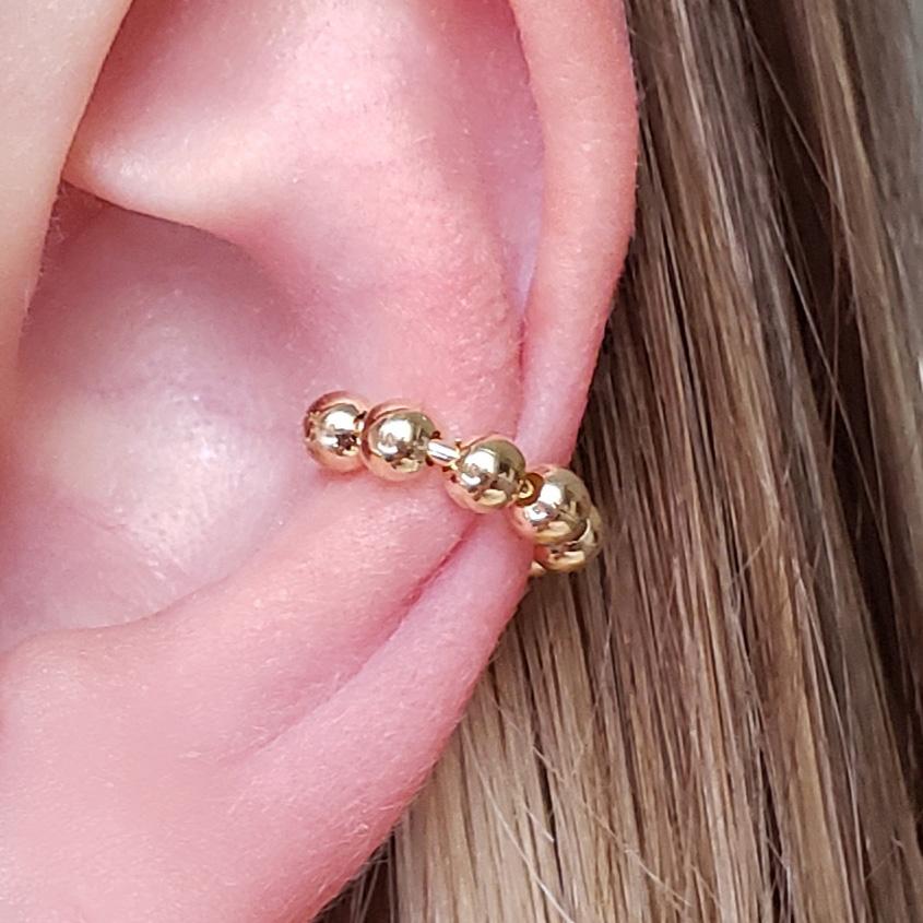 Piercing Bolinhas Pequenas Inteiro Folheada em Ouro 18k