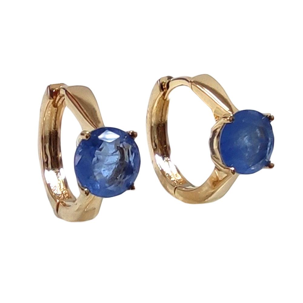 Brinco Argola Tanzanita Fusion Azul Solitário Prata 925 Folheado em Ouro